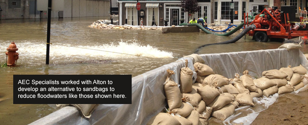AEC Specialists worked with Alton to develop an alternative to sandbags to reduce floodwaters like those shown here.
